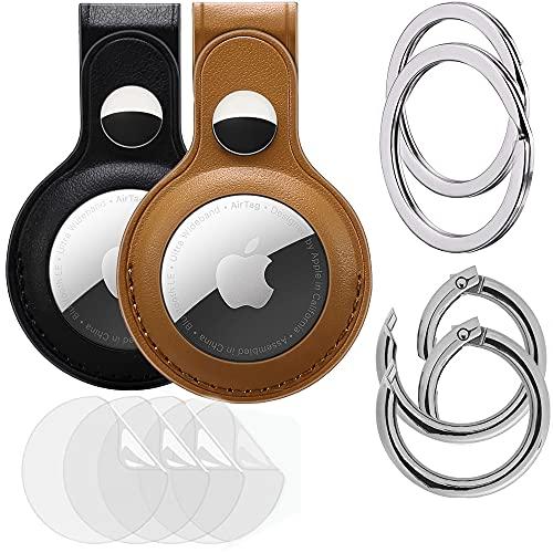 KURT HOME Premium 100% cuero auténtico accesorio colgante para Apple AirTag GPS Case cuero genuino Holder con llavero y mosquetón Chain comprar (negro + marrón claro + lámina protectora)