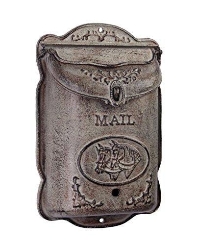 Briefkasten Wandbriefkasten Mailbox Vintage Pferde Gusseisen 38,6 x 24,8 cm