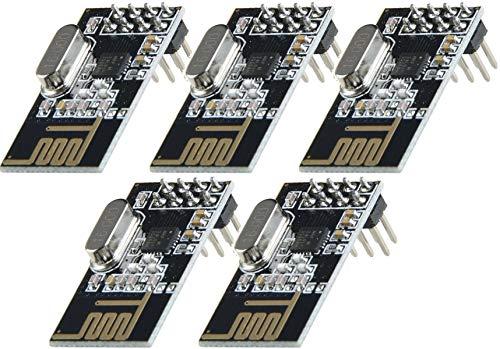 TECNOIOT 5pcs NRF24L01 2.4GHz Wireless Transceiver Module For Arduino Microcontroller | 5pcs NRF24L01 2.4GHz Wireless Module for Arduino, ESP8266, Raspberry Pi, etc.