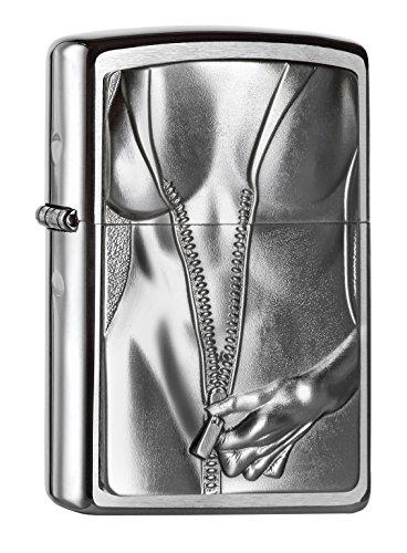 Zippo 200 Zipper Girl Feuerzeug, Messing, Grau, One Size
