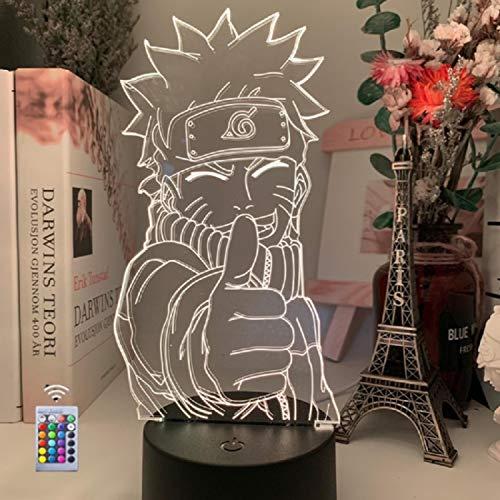 Lámpara de ilusión de Anime'Naruto', luz LED Visual óptica 3D Creativa, luces de Noche LED Táctiles para Escritorio de Mesa, con Control Remoto y Base, 16 Colores, Regalo de Cumpleaños para Niños