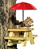 SQUIFTY Squirrel Feeder Picnic Table with Red Umbrella and Corn Cob Holder and Small Peanut Cup | New Premium Gift for Squirrel and Chipmunk Lovers | Wildlife Bird Animal Feeder Mounting Station