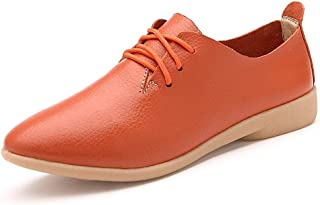 Oxfords For Women Loafers Lace Up Round Toe Lightweight Genuine Leather Non-slip Rubber Sole 3cm Heel Height Casual Shoes Personalized Fashion Shoes Well-Made (Color : Orange, Size : 37 EU)