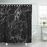 MMPTn Duschvorhang, wasserfest, graue Wand, schwarzes Marmor-Muster, weißer Stein Granit, Bodenplatte, dunkle Heimdekoration, wasserfest, 180,9 x 180,3 cm, inkl. 12 Kunststoffhaken