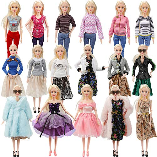 27 Pack Doll Clothes and Accessories - 1 Winter Coat 2 Jacket 4 Fashional Dress Cloth 5 Top and 5 Pants 10 Pairs Shoes, Size Suit for Barbie Doll and Other 11 Inch Doll