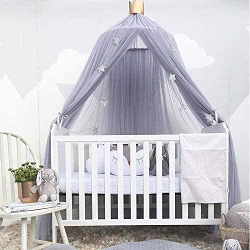 Klamboe Opknoping Gordijn, for Windows, bedhemel Insect for Children Enkel Dubbel Princess bed baby Binnen Buiten Dome met Sterren, White dmqpp (Color : Gray)
