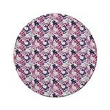 Rutschfreies Gummi-rundes Mauspad abstrakt Farbe befleckt Expressionismus Inspirierte moderne Kunstwerke Surreale Formen Muster Dekorativ Pink Lila Weiß 7,87 'x 7,87' x 3 mm