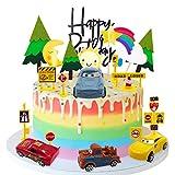 YUESEN Toppers para Tartas Decoraciones Cumpleaños Niño Coche, Sol, Luna, Pino, señal de tráfico Tarjeta de Feliz Cumpleaños Happy Birthday Kit para Niños Fiesta de Boda