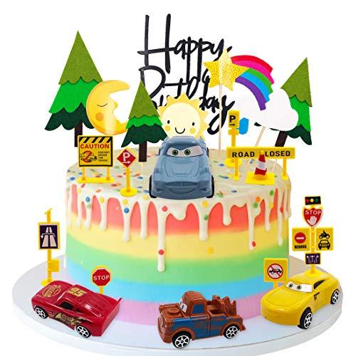 YUESEN Tortendeko Auto Geburtstag Mini Auto Tortendekoration, Sonne, Mond, Kiefer, Verkehrsschilder Thema Partyzubehör für Kinder Mädchen Junge