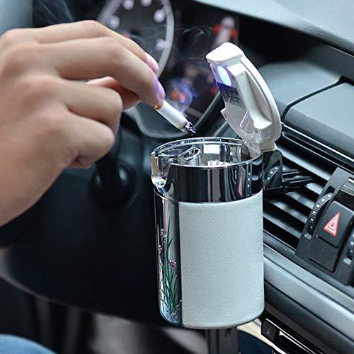 ZRZJBX Auto LED Aschenbecher Tragbar,Auto Zigarettenhalter Rauchfrei SelbstlöSchend Aschenbecher,Aschenbecher Rauchfrei SelbstlöSchend Auto GeträNkehalter,White