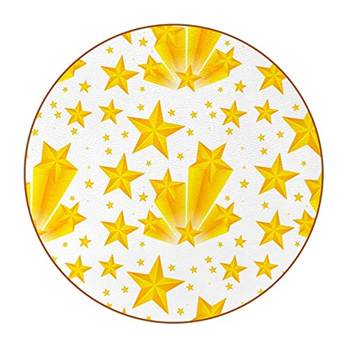 Coasters for Drinks,for Desktop Protection Cute Absorbent Coaster,Housewarming Gift for Friend and Family Yellow stars