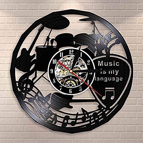 Reloj de Pared de Vinilo navideño La música es mi Idioma Música Cita inspiradora Reloj de Pared Música Teatro Decoración Guitarra Tambores Vintage Record Reloj de Pared 30cm