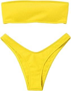 Tuopuda Bikini Set Donna Tinta Unita Costumi da Bagno Donna Due Pezzi Costume da Bagno Push Up Bandeau Top Vita Bassa Senz...