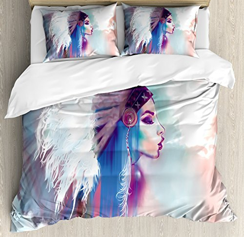 Ambesonne Tribal Duvet Cover Set, Girl Smoking Traditional Clothes Abstract Watercolor Background Illustration, Decorative 3 Piece Bedding Set with 2 Pillow Shams, Queen Size, Multicolor