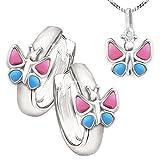 Juego de joyas Clever Silberne Kinde rcreolen mariposa rosa azul con colgante a juego y cadena...