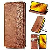 TOPOFU Leder Folio Hülle für Xiaomi Mi 11 5G, Premium PU/TPU Flip Wallet Tasche mit Kartenfächern, Magnetic, Book Style Lederhülle Handyhülle Schutzhülle (Braun)