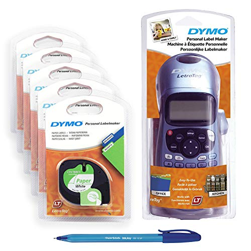 5 x Dymo LetraTag Papier Etikettenband (91200), 12 mm x 4 m Rolle, weiß + Dymo S0883980 LetraTag LT-100H Label Maker ABC Tastatur, schwarz/blau + PaperMate Stift Geschenk