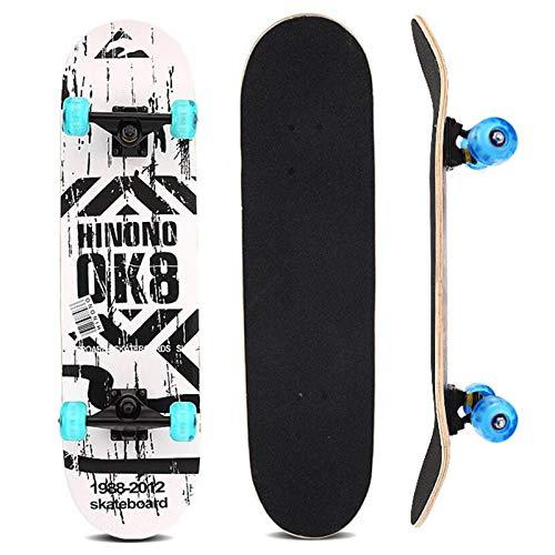 Sumeber Skateboard Komplettes 31 Zoll Double Kick Skateboard mit Blinklicht Räder Skateboards für Anfänger Kinder Jugendliche und Erwachsene
