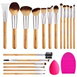BESTOPE Makeup Brushes 17Pcs Bamboo Handle Makeup Brush Set with 1 Pcs Silicone Face Mask Brush&1 Makeup Sponge&1 Brush Cleaner Premium Synthetic Concealers Foundation Eye Shadows Make Up Brush Kit