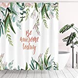 Tititex Be Awesome Today Quote Floral Shower Curtain Sets, Pink Flowers and Green Leaves Watercolor Bathroom Decorative 70 X 70 Inch Polyester Waterproof Fabric Bath Curtain with Hooks
