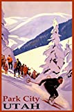 "WINTER SPORTS PARK CITY SKI MOUNTAIN RESORT UTAH DOWNHILL SKIING USA TRAVEL VINTAGE POSTER REPRO ON PAPER OR CANVAS (20"" X 30"" IMAGE MATTE PAPER)"