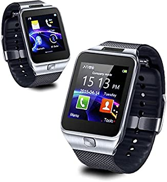 Amazon Com Indigi 2 In 1 Smartwatch Phone W Bluetooth Sync Make Receive Call From Watch Optional Micro Sim Card Slot Silver Electronics