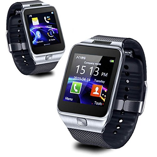 inDigi 2-in-1 SmartWatch Phone w/Optional Micro SIM-Card Slot for AT&T T-Mobile Unlocked - Compatible with Bluetooth (Silver)