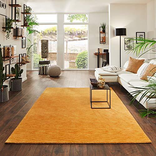 Steffensmeier Gabbeh Teppich Jaipur | Wolle, Gold, Größe: 90x160 cm Kurzflor Teppich für Wohnzimmer Handloom