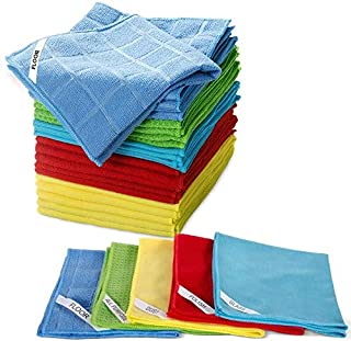 "Multi-Purpose Cleaning Cloths 25 PCS Clean Rags for Polish,Glass,Floor,Dust,Car Cleaning Cloths 13.2"" x 13.2"" Masthome"