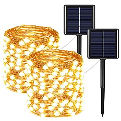 2-Pack Solar String Lights Outdoor 400LED, Upgraded Super Bright Solar Christmas Lights with Much Bigger LED lamp Beams, Waterproof Copper Wire Fairy Lights for Outdoor (Warm White)