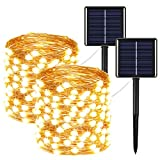 2-Pack Solar String Lights Outdoor, Each 72FT 200 LED 8 Modes Solar Powered Fairy Lights Waterproof Copper Wire Twinkle Lights for Garden Tree Wedding (Warm White)