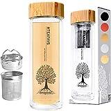amapodo Teeflasche Thermo Teamaker doppelwandig 400ml mit Edelstahl Tee Sieb und Deckel aus echtem Bambus BPA-frei