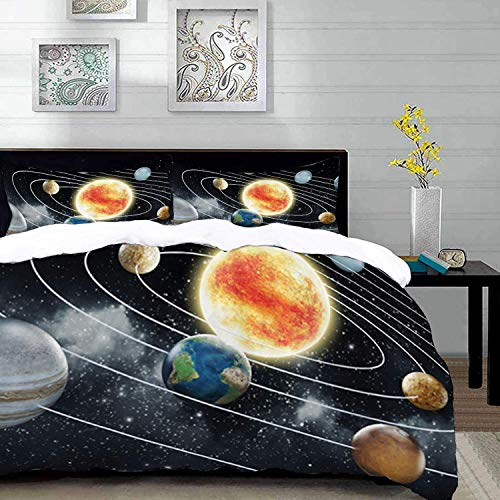 Ropa de Cama: Juego de Funda nórdica, Espacio Exterior, Sistema Solar con Ocho Planetas Elementos del Universo Sun Earth Mars and Uranus, Verde B, Juego de Funda nórdica de Microfibra con 2 Fundas de