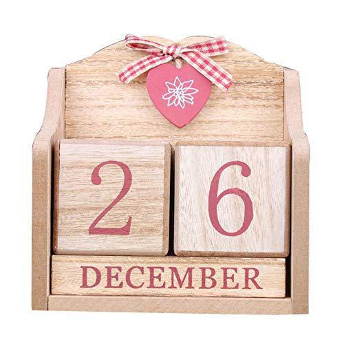 MAyouth Vintage in Legno Calendario Perpetuo - Cute Bowknot Cuore di Legno Calendario Perpetuo del Blocco di Legno Home Office Decor