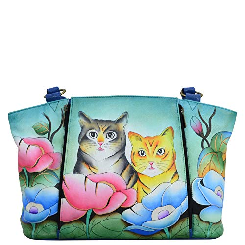 Anna by Anuschka womens - Leather, Hand-painted Original Artwork Anna Anuschka Organizer Tote Bag Genuine Leather Two Cats, Two Cats, Medium US