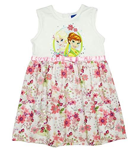 Disney Baby Eiskönigin Mädchen Prinzessinnen-Kleid mit Blumen in Gr. 104 110 116 122 128 134 Baumwoll schön luftig FEST-Kleid mit Glitzer für 3 4 5 6 7 8 Jährig Größe 128, Farbe Beige