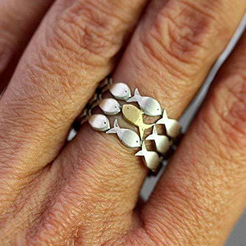 """ERHETUS Stapelbare Ringe für Damen mit Aufschrift """"To My Daughter Swimming Against The Current Ring Verstellbarer Fingerring für Frauen"""