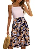YATHON Summer Dresses for Women Casual Party Swing Dress Spaghetti Strap Sundress for Women with Pockets (YT111-P-Beige Firework, XL)