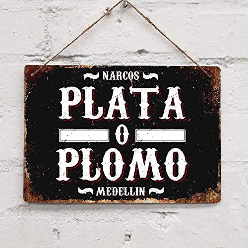 SIGNCHAT Cartello in Metallo da Parete in Metallo, Stile Vintage Narcos Plata O Plomo, 20,3 x 30,5 cm