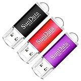 SunData Memorias USB 64GB 3 Piezas Pen Drive USB 3.0 Flash Drive Diseño Mini Almacenamiento de Datos hasta 90MB/s, (3 Colores Mezclados: Negro, Rojo, Púrpura)