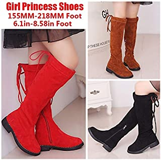 Kids Knee High Boots for Girls Childrens Lace Up Zipper Shoes Princess Red Warm Non-Slip Long Boots(Brown,28)