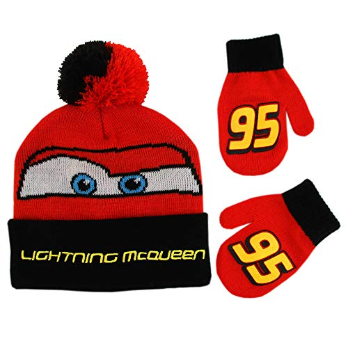Disney Boys Winter Hat Set, Cars Lightning McQueen Toddler Beanie and Mittens for Kids Age 2-4