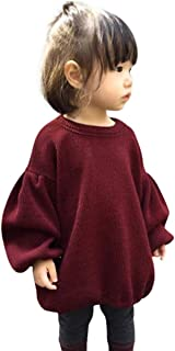 Noubeau Toddler Baby Kids Girls Lantern Sleeve Shirt Tops Outfits Clothes Fall Winter Knit Sweater