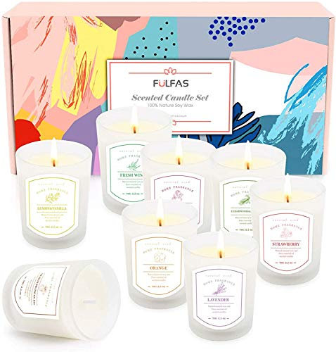 Set regalo candele profumate FULFAS, confezione da 8 candele per aromaterapia con oli essenziali naturali e cera di soia, candele in vaso di vetro perfette per mamma donna ragazza