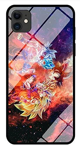 Custodia Per Telefono Anime Dragon Ball Goku Custodia Per iphone con Cordino Luminoso Cover Posteriore in Vetro Temperato Guscio Protettivo con Bordo Morbido Compatibile con iphone 12