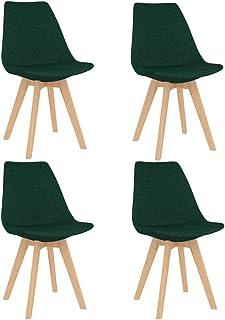 vidaXL 4X Sillas de Comedor Asiento Mobiliario Muebles Cocina Salón Sala de Estar Escritorio Acolchado Suave Respaldo Decoración Tela Verde Oscuro