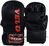 VELO. MMA - Guantes de Boxeo para Artes Marciales, de Microfibra, de Piel, Color Negro, Small