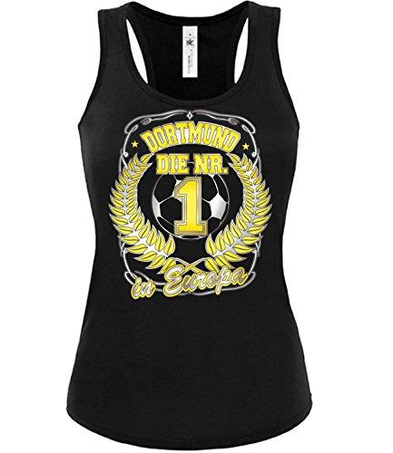 Dortmund die Nr.1 in Europa 3243 Fussball Fanshirt Fan Shirt Tshirt Fanartikel Artikel Frauen Damen Tank Top Tanktop T-Shirts Schwarz M