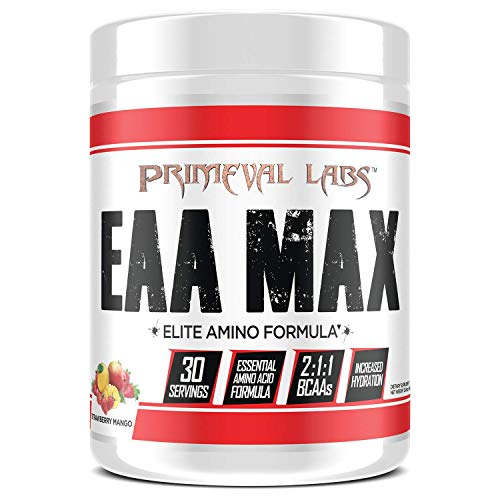 Primeval Labs EAA Max, Essential Amino Acids Supplement Powder, BCAAs, EAAs, Electrolytes, Enhance Performance, Support Hydration, Improve Muscle Recovery, Keto Friendly, Strawberry Mango, 30 Servings