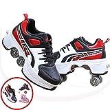 SHANGN Patín En Línea Zapatos Multiusos 2 En 1 Zapatos para Niños con Ruedas De Skate con Ruedas Deportivos para Correr Zapatillas con Ruedas Niños Niños Niñas,L-36